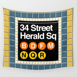 subway herald square sign Wall Tapestry