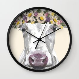 Cow With Flower Crown, Cute Cow Up Close Wall Clock