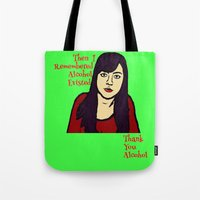 alcohol Tote Bags featuring Parks April Thanks Alcohol by Kramcox