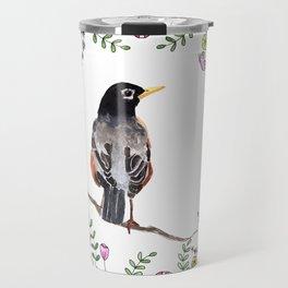 American Robin With Whimsical Flower Wreath Travel Mug