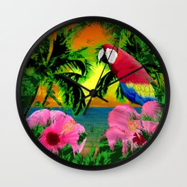 Palm Trees And Island Sunsets Wall Clock