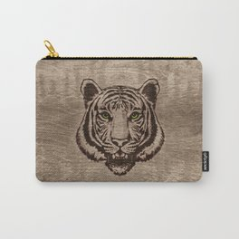 Tiger  pyrograph on wood Carry-All Pouch