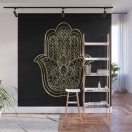 Lotus Gold Hamsa Hand Wall Mural