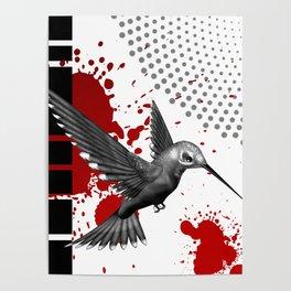Trash Polka Flying Hummingbird Geometric Shapes Poster