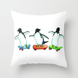 Happy Wheels - Penguins on Skateboards  Throw Pillow