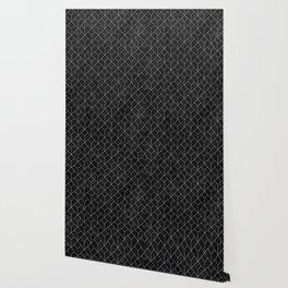 White Art Deco pattern on black ink Wallpaper