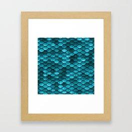 Teal Mermaid Tail Scales Framed Art Print