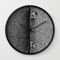 skateboard Wall Clocks featuring Skateboard by short stories gallery