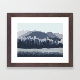 Vancouver Skyline in Blues Framed Art Print