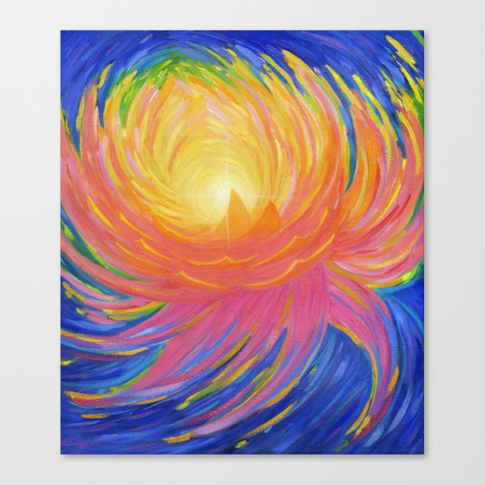 """Lotus Abstract Painting, """"Unfoldment"""" Canvas Print"""