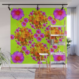 Chartreuse Color Golden Daffodil Rose Art Wall Mural