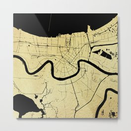 New Orleans Black and Gold Map Metal Print