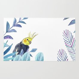 Cockatiel with tropical foliage Rug