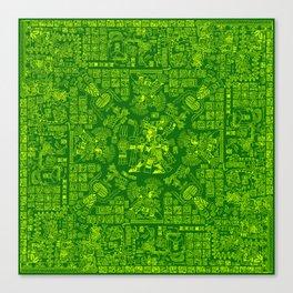 Mayan Spring GREEN / Ancient Mayan hieroglyphics mandala pattern Canvas Print