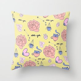 Cute Pastel Pattern Throw Pillow