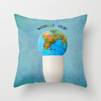world cup Throw Pillows featuring World cup by Anne Seltmann