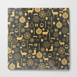 Gold Christmas elements pattern On Dark grey Background Metal Print