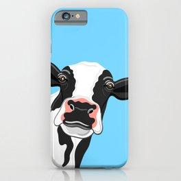 Black & White Cow Portrait on blue iPhone Case