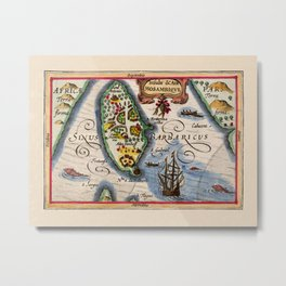 Map Of Mozambique 1618 Metal Print