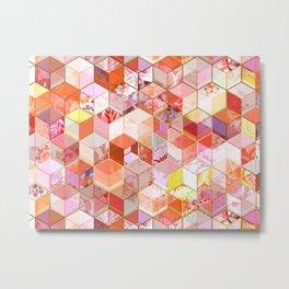 Gold and Garnet Kaleidoscope Cubes Metal Print