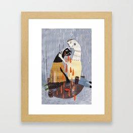japenese couple crying illustration Framed Art Print