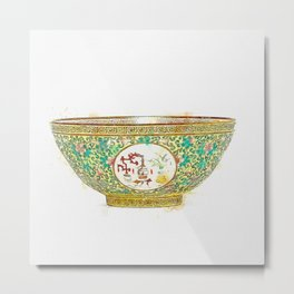 A FINE YELLOW-GROUND FAMILLE ROSE 'MEDALLION' BOWL watercolor by Ahmet Asar Metal Print