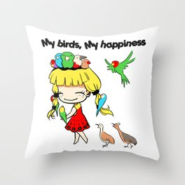 My birds my happiness cute cartoon Throw Pillow