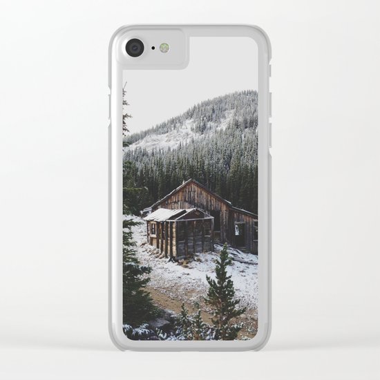 Snowy Cabin Clear iPhone Case