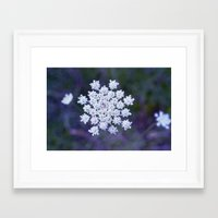 snowflake Framed Art Prints featuring Snowflake by The Last Sparrow