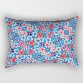 Blue Cascading Floral Chirimen Rectangular Pillow