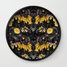 Nocturnal botanical garden kaleidoscope Wall Clock