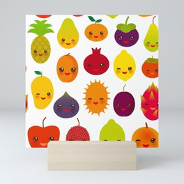 kawaii fruit Pear Mangosteen tangerine pineapple papaya persimmon pomegranate lime Mini Art Print