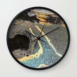 The Golden Path - an abstract, textured piece in neutrals by Jacob von Sternberg Art Wall Clock