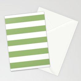 Olivine -  solid color - white stripes pattern Stationery Cards
