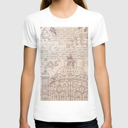 Vintage rustic ivory brown floral collage typography T-shirt