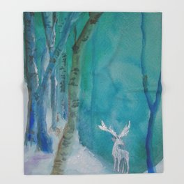 White Stag of the Winter Solstice Throw Blanket
