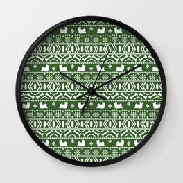 Biewer Terrier fair isle christmas green and white pattern minimal dog breed pet designs Wall Clock