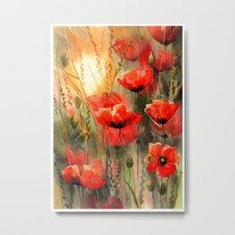 Real Red Poppies Metal Print