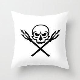 Human Skull Crossed Fishing Spear Mascot Throw Pillow