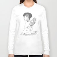 avenger Long Sleeve T-shirts featuring Angel Hawk Avenger by Christina G. Smith