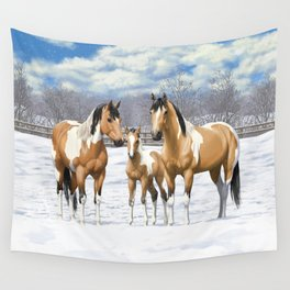 Buckskin Pinto Paint Quarter Horses In Snow Wall Tapestry