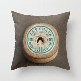 Vintage Cotton Reel Throw Pillow