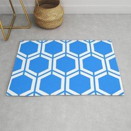 Dodger blue - turquoise - Geometric Polygon Pattern Rug