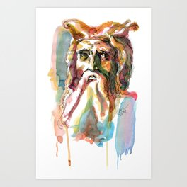 Watercolor Old Man Art Print