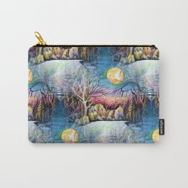 Sublime Watercolor Scenery with Sweden Scandinavian Full Moon Landscape Carry-All Pouch