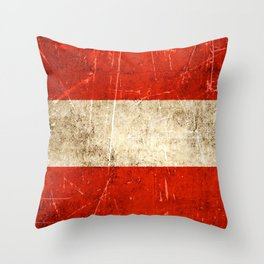 Vintage Aged and Scratched Austrian Flag Throw Pillow