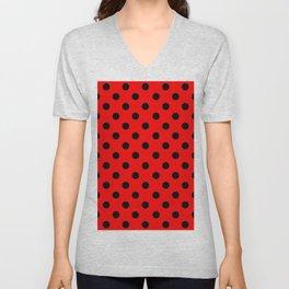 Polka Dots (Black & Classic Red Pattern) Unisex V-Neck
