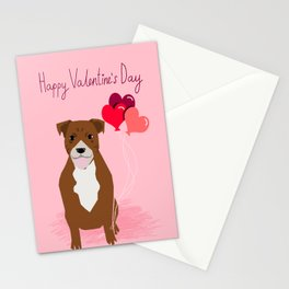 Pitbull love hearts dog balloon valentines day pitbulls must have pibble art Stationery Cards