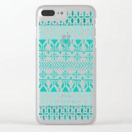 Norwegian Pattern – Aqua on White Clear iPhone Case