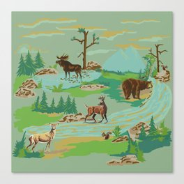 Paint by Number Woodland Animals Canvas Print